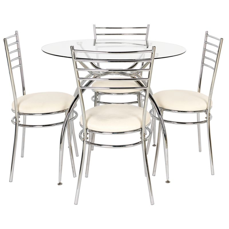 Lusi glass dining table and 4 white chairs for White dining table and 4 chairs