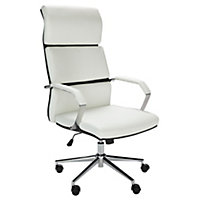 White Leather Chair - Homebase