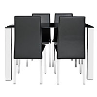 Hygena Fitz Black Glass Dining Table & 4 Black Chairs.