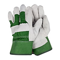 Unisex Leather Rigger Green Gardening Gloves - Medium