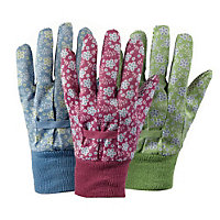Triple Pack of Falling Flower Cotton Gardening Gloves - Medium