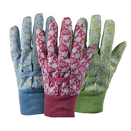 Image for Triple Pack of Falling Flower Cotton Gardening Gloves - Medium from StoreName