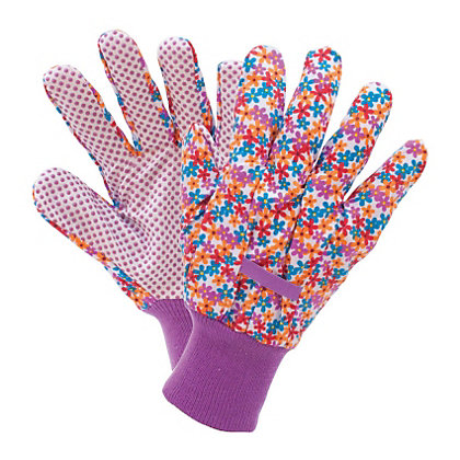 Image for Busy Floral Cotton Grip Gardening Gloves - Small from StoreName