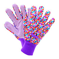 Busy Floral Cotton Grip Gardening Gloves - Medium