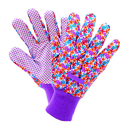 Image for Busy Floral Cotton Grip Gardening Gloves - Medium from StoreName