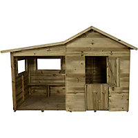 Forest Pressure Treated Wooden Playhouse with Veranda - 8x4ft