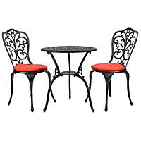 Charles Bentley  Cast Aluminium Garden Bistro Set – Black with Red Cushions