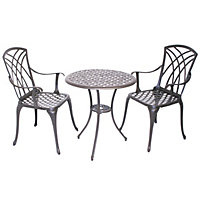 Charles Bentley Cast Aluminium Garden Bistro Set - Bronze