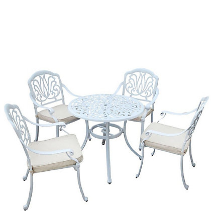 Image for Charles Bentley Cast Aluminium 4 Seater Garden Furniture Set - White from StoreName