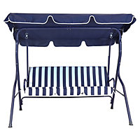 Charles Bentley 2 Seater Swing Seat - Blue and White Stripe
