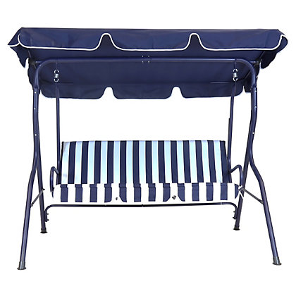 Image for Charles Bentley 2 Seater Swing Seat - Blue and White Stripe from StoreName
