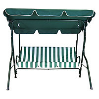 Charles Bentley 2 Seater Swing Seat - Green and White Stripe
