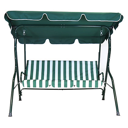 Bentley garden 2 seater swing seat green and white stripe - Garden furniture swing seats ...