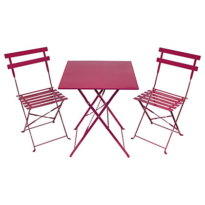 Image for Charles Bentley Metal Garden Bistro Set - Purple from StoreName