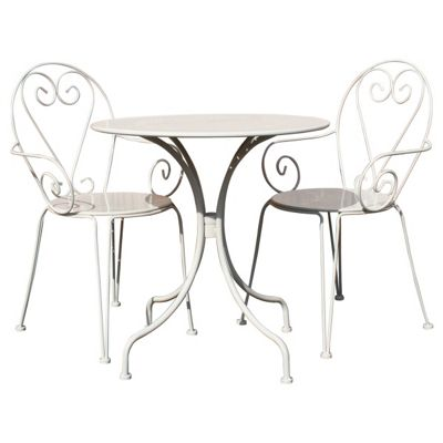 Image for Bentley Garden Steel Heart Garden Bistro Set - Cream from StoreName