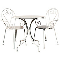 Bentley Garden Steel Heart Garden Bistro Set - Cream