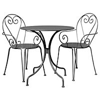 Bentley Garden Steel Heart Garden Bistro Set - Grey