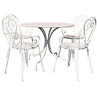 Charles Bentley Steel Heart 5 Piece Garden Bistro Set - Cream