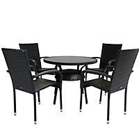 Charles Bentley Rattan Dining Set with Table and 4 Arm Chairs - Dark Brown