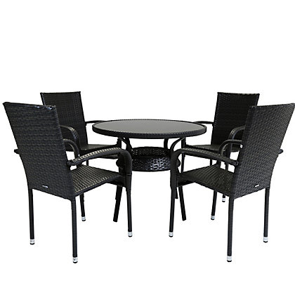Image for Charles Bentley Dark Brown 4 Seater Rattan Effect Garden Furniture Set from StoreName