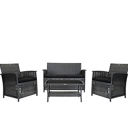 Image for Charles Bentley Rattan Effect 4 Seater Garden Furniture Set - Brown from StoreName