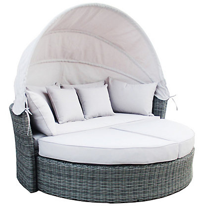 Image for Charles Bentley Luxury Rattan Day Bed – Grey & Silver from StoreName