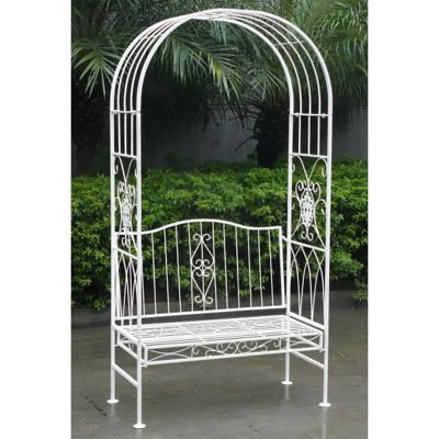 Bentley Garden Wrought Iron 2 Seater White Bench with Arch