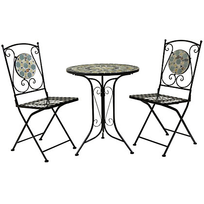 Image for Bentley Garden 2 Seater Wrought Iron Garden Bistro Set with Blue Mosaic from StoreName