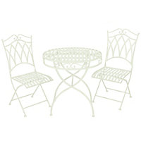 Charles Bentley 3 Piece Wrought Iron Garden Bistro Set - Pistachio Green