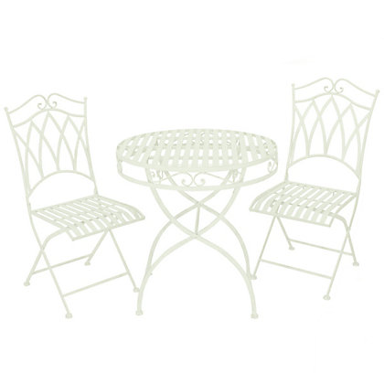 Image for Charles Bentley 3 Piece Wrought Iron Garden Bistro Set - Pistachio Green from StoreName
