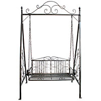 Bentley Garden Wrought Iron Grey Swing Seat