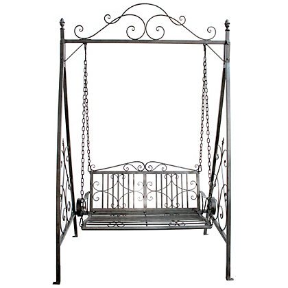 Image for Bentley Garden Wrought Iron Grey Swing Seat from StoreName