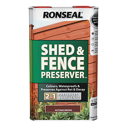 Image for Ronseal Shed & Fence Preserver - Autumn Brown - 5L from StoreName