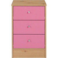 New Malibu 3 Drawer Bedside Chest - Pink on Pine.