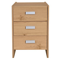 New Capella 3 Drawer Bedside Chest - Pine.