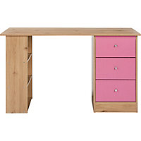 New Malibu 3 Drawer Desk - Pink on Pine.