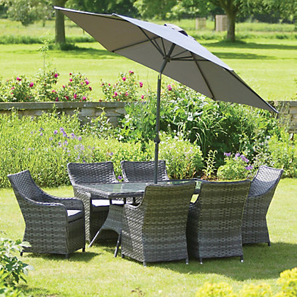 Image for Grey 6 Seater Rectangular Rattan Effect Garden Furniture Set from StoreName