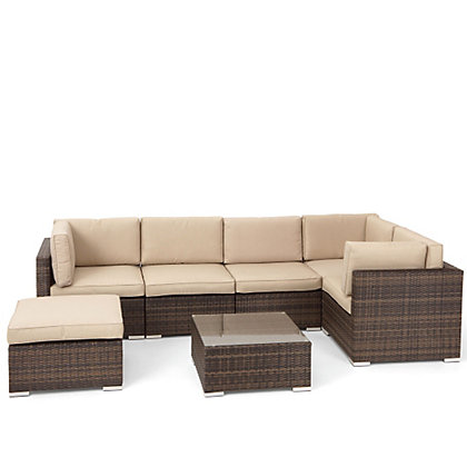 Image for Mixed Brown Rattan Corner Garden Sofa Set from StoreName