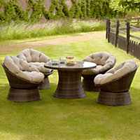 Mixed Brown Rattan 5 Piece Swivel Chair Garden Sofa Set