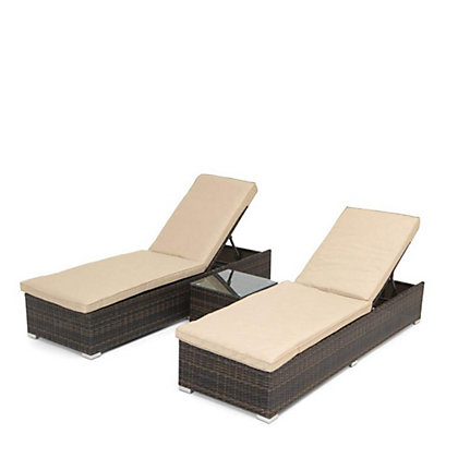 Image for Mixed Brown 2 Piece Metal Garden Lounger Set from StoreName