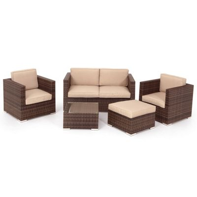 Brown rattan furniture for Outdoor furniture homebase