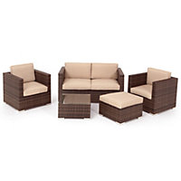 Mixed Brown Rattan 2 Seater Garden Sofa Set