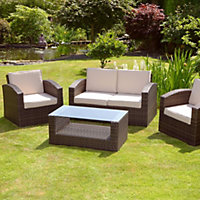 Mixed Brown Grenada 2 Seater Rattan Garden Sofa Set