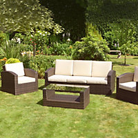 Mixed Brown Grenada 3 Seater Rattan Garden Sofa Set