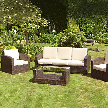 Image for Mixed Brown Grenada 3 Seater Rattan Garden Sofa Set from StoreName