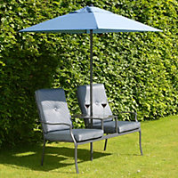 Atlantic Duo Metal Garden Seat with Parasol