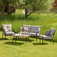 Belvedere 4 Seater Padded Metal Garden Sofa Set