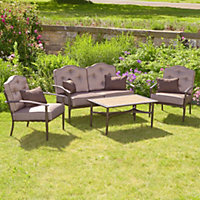 Woodbury 4 Seater Padded Metal Garden Sofa Set