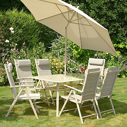 Lucca 6 Seater Rectangular Metal Garden Furniture Set