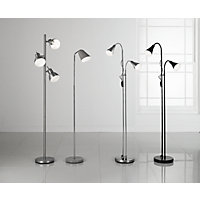Twin Head Floor Lamp - Chrome.